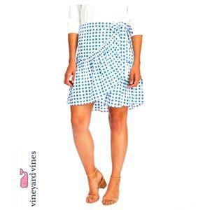 Vineyard Vines Painterly Grid Wrap Skirt M